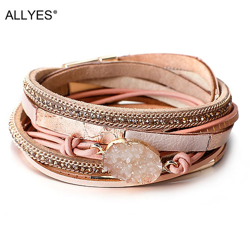Multilayer Genuine Leather Boho Resin Charm Rhinestone Chain Wrap Bracelet