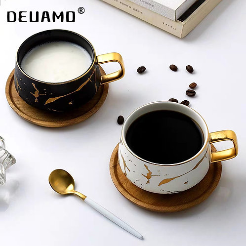 Luxury Nordic Marble Effect Ceramic Coffee/Tea Cups With Wooden Saucer & Spoon