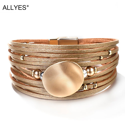 Metal Round Charm Leather Bracelets 14 Strips Boho Multilayer Bracelet