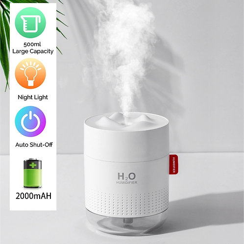 Rechargeable Mini Humidifier,2000mAh Battery or USB Operated, 500ml Water Tank