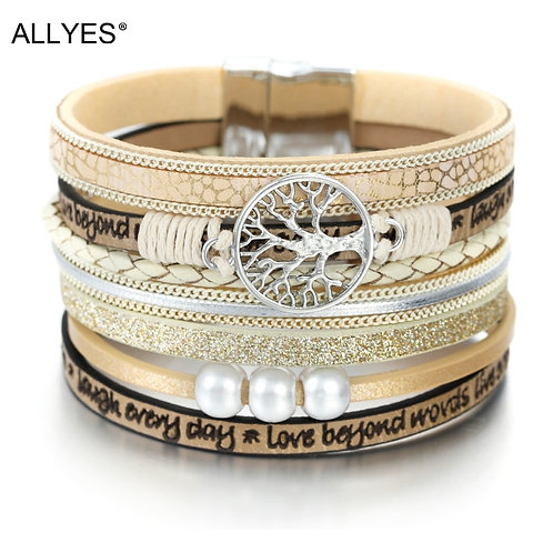 Tree of Life Charm Pearl Leather Bohemian Multilayer Wide Wrap Bracelet