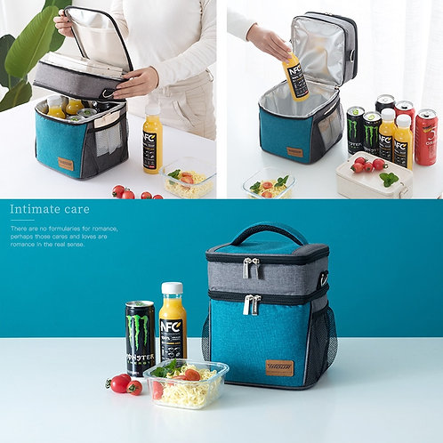 Large Thermal Insulation Cooler Lunch Bag Picnic Bento Box Fresh & Cold