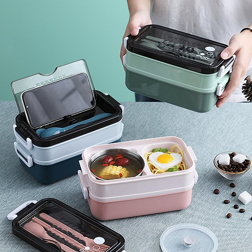 New Lunch Box Bento Box Double-Layer Microwave Container Food Storage Container
