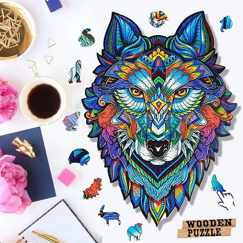 Unique Wooden  Animal Jigsaw Puzzles Mysterious Wolf Adults Kids Educational