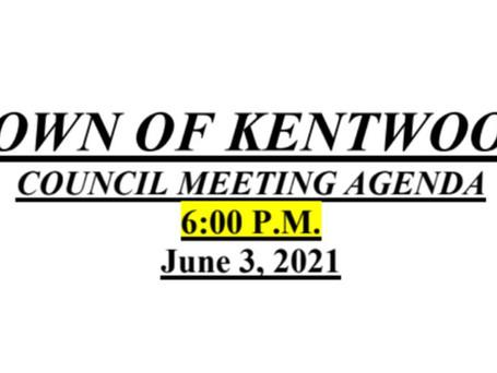 JUNE 3RD COUNCIL MEETING AGENDA