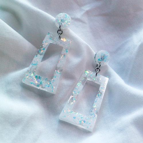 White Opalescent Doorknocker Earrings