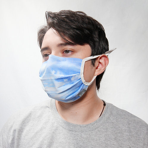 Blue Skies Pleated Face Mask