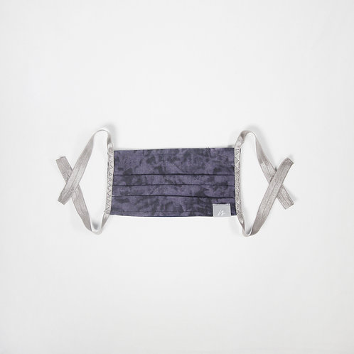 Navy Cotton Pleated Face Mask
