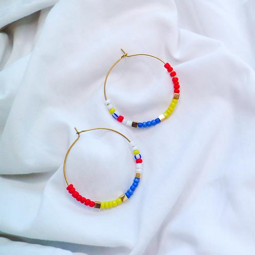 Primary Colours Beaded Hoop Earrings
