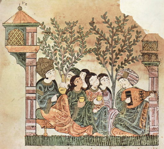 Historical depiction of oud playing