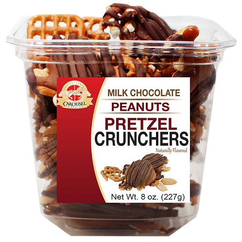 Milk Chocolate Peanuts Pretzel Crunchers - 8 oz. Tub