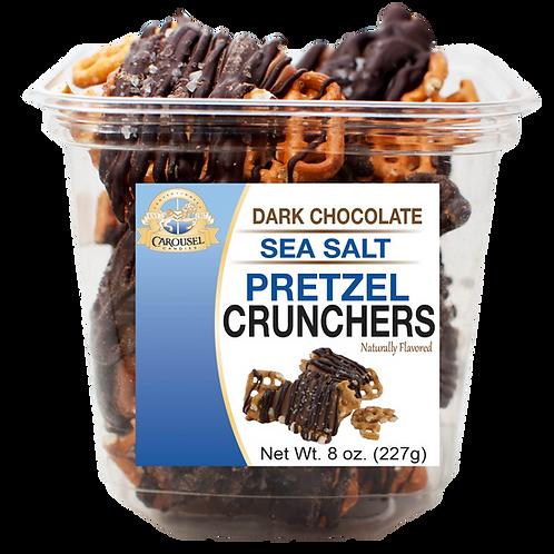 Dark Chocolate Sea Salt Pretzel Crunchers - 8 oz. Tub