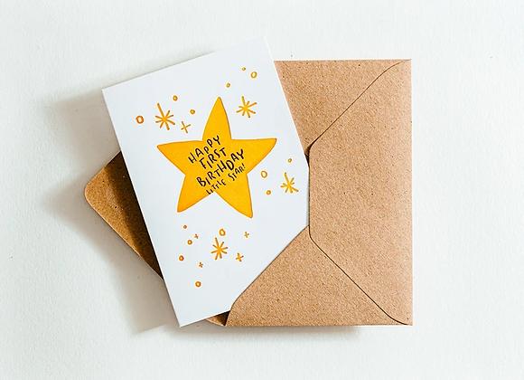 'Happy first birthday little star' Card