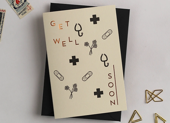 'Get well soon' recycled coffee cup card