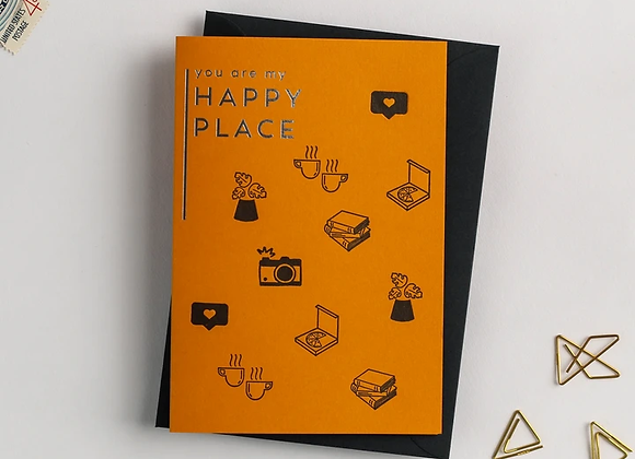 'You are my happy place' recycled coffee cup card