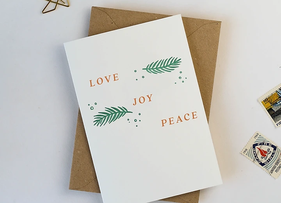 'Love Peace and Joy' Card