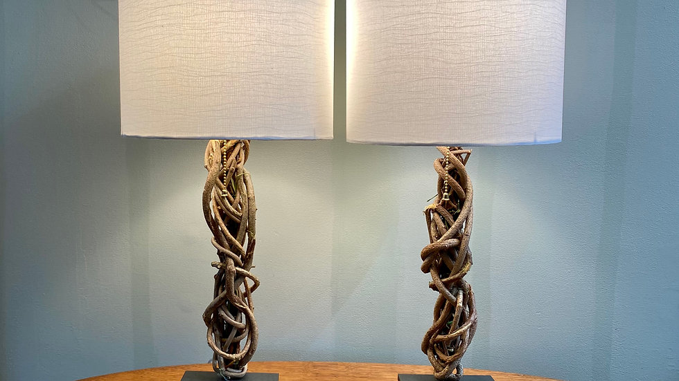 Linen shade pair of lamps