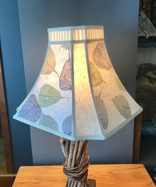 Upcycled shade with leaves