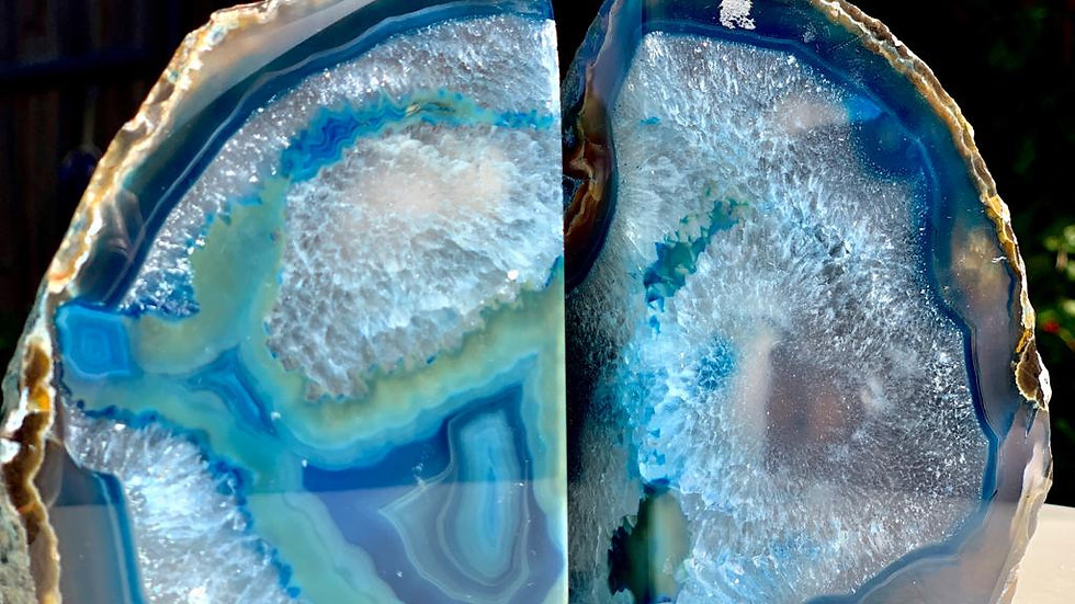 Blue Agate Book Ends - Large