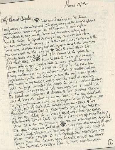A personal handwritten letter from Tupac Shakur, while in prison to Angela Ardis, including a very b