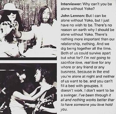 John Lennon explains his relationship with Yoko