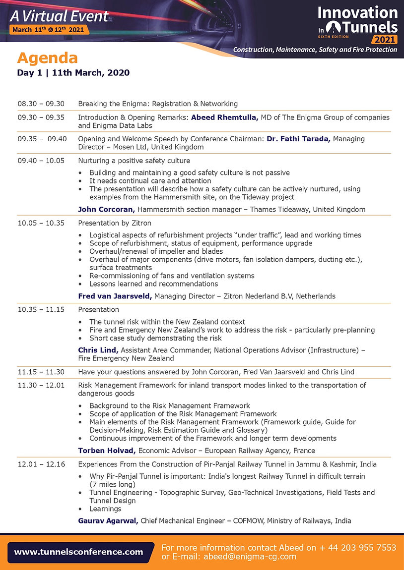 Innovation in Tunnels 2021 Delegate Broc