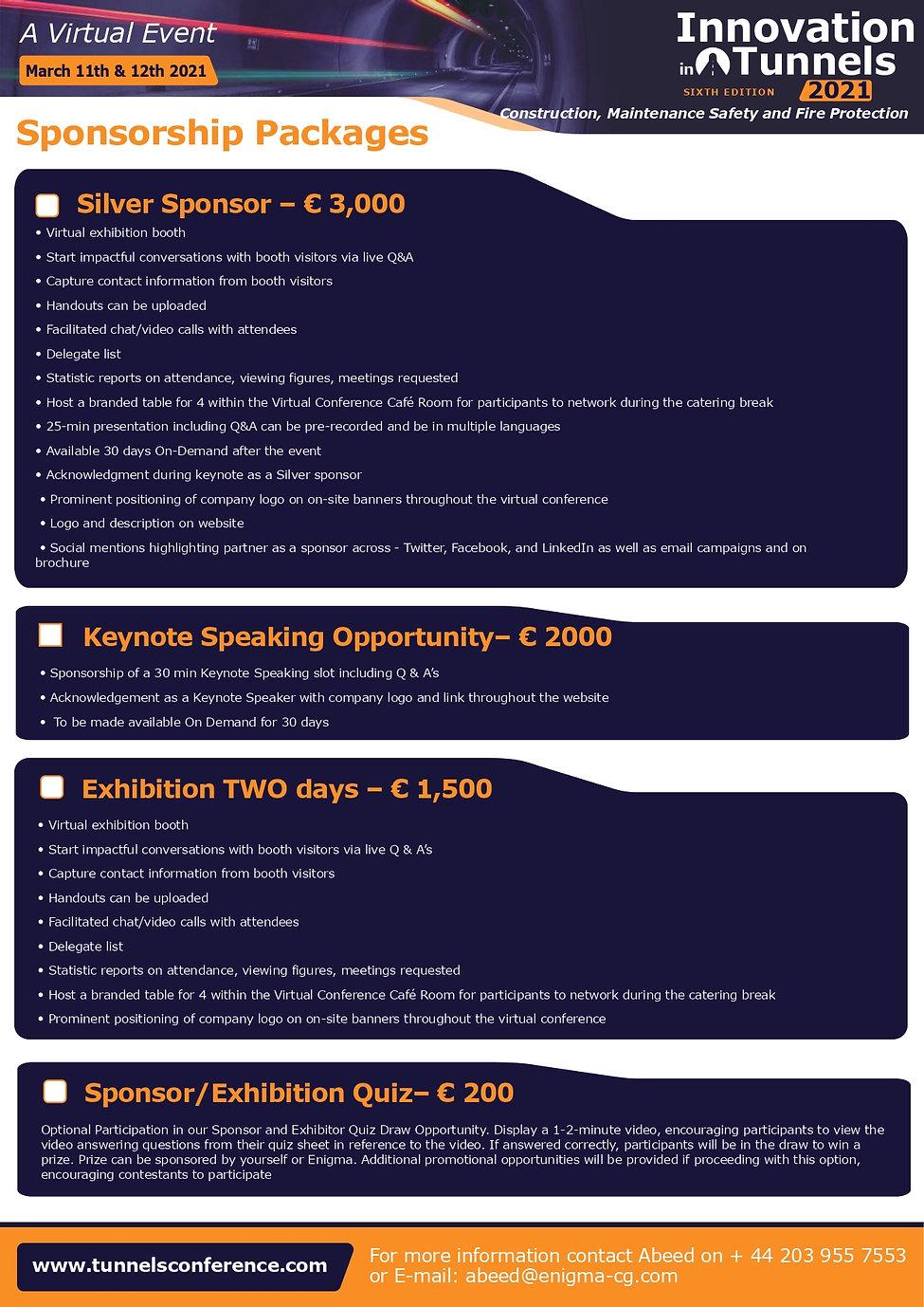 Innovation in Tunnels 2021 sponsor websi