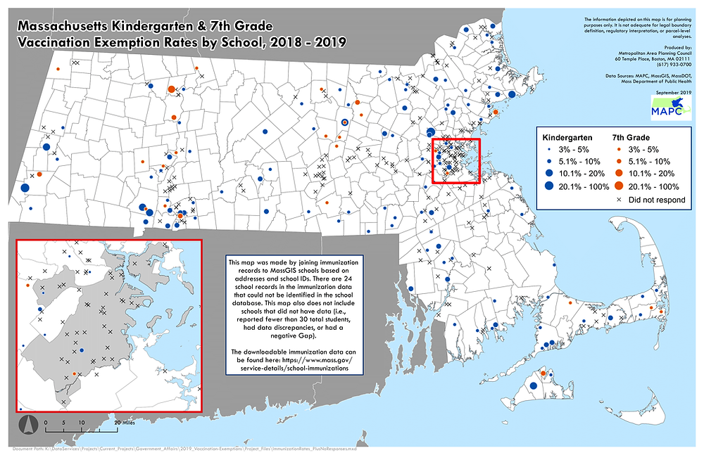 Map of Massachusetts immunizations exemptions by school, 2018-2019
