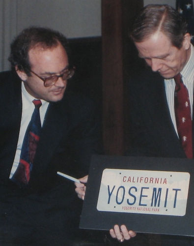 Keith Schiller and George Bush Sr. during Yosemite Liscense Plate Campaign