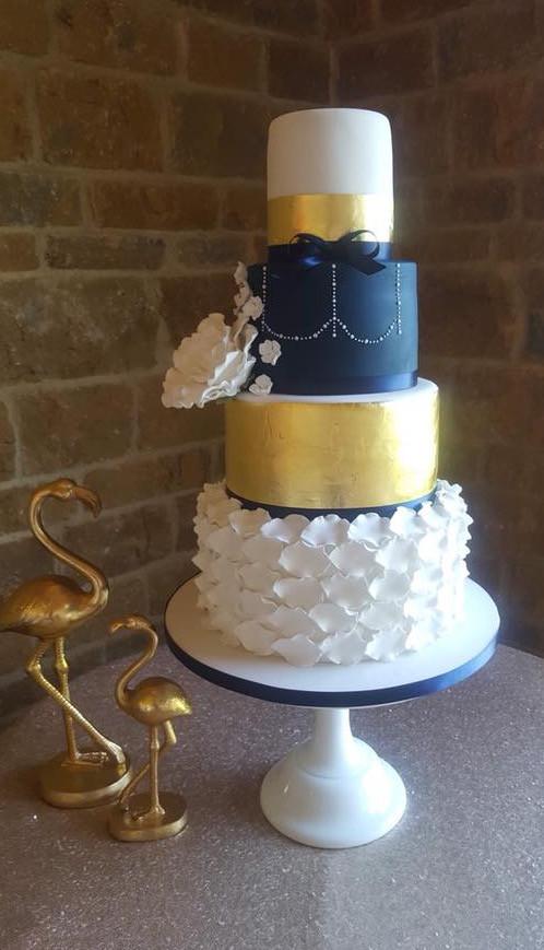 Navy & Gold Wedding Cake