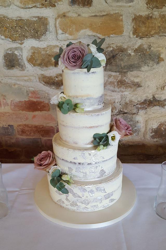 Semi-Naked & Silver Leaf Wedding Cake