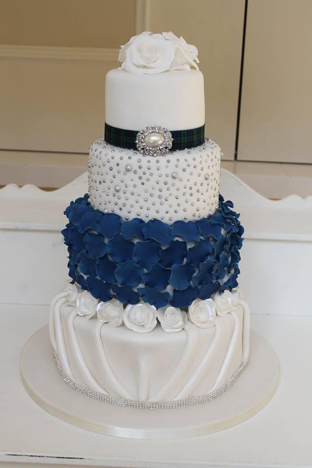 White & Navy Petals Wedding Cake
