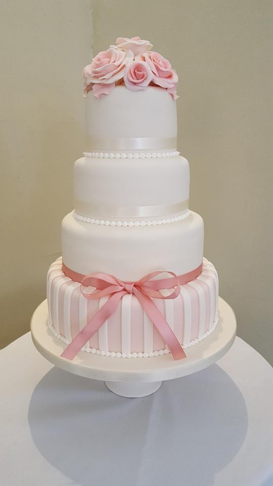 Vintage Rose Four Tier Wedding Cake