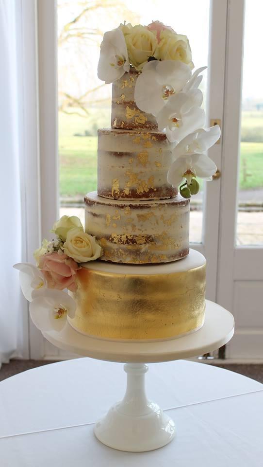 Semi-Naked & Gold Leaf Wedding Cake
