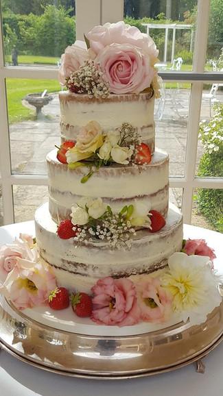 Semi-Naked with fresh fruits Wedding Cake