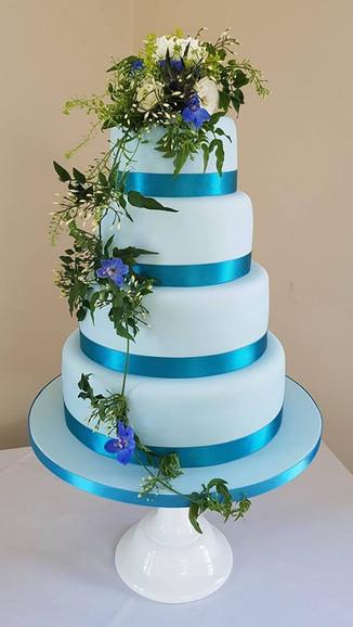 Blue Ribbon Wedding Cake