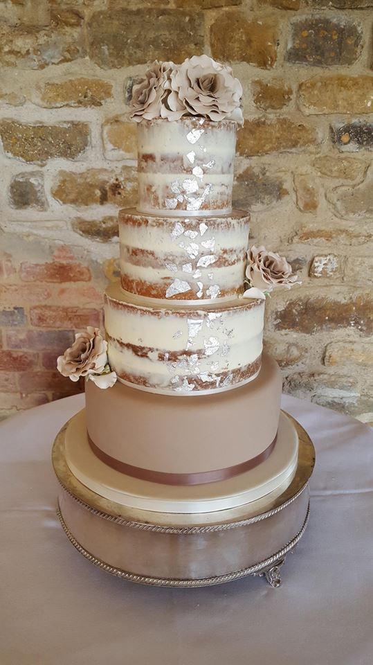 Coffee & Silver Semi-Naked Wedding Cake