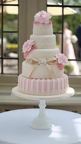 Vintage Rose Five Tier Wedding Cake