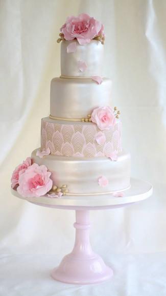 Rose Shimmer Wedding cake