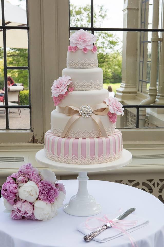 Pink & Gold Vintage Rose five tier