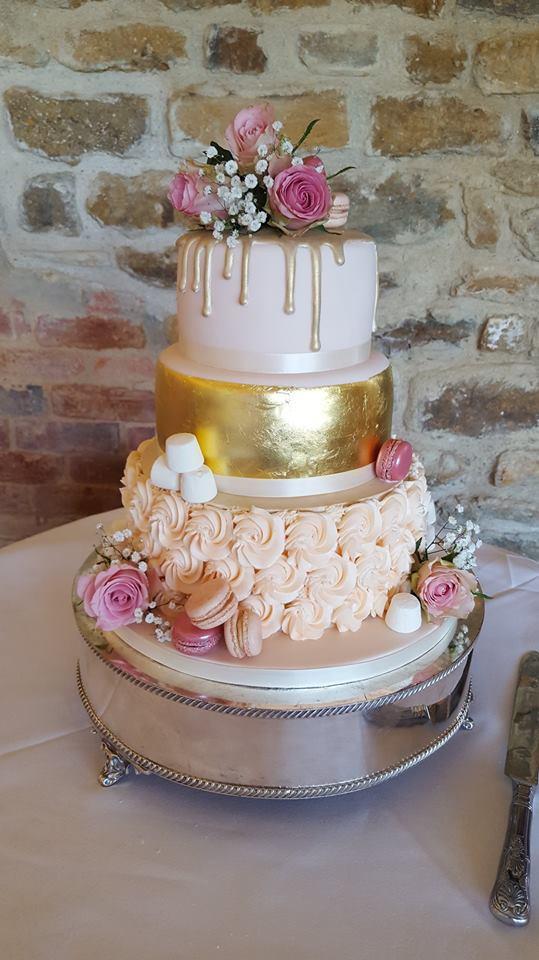 Pink & Gold Drip Wedding Cake