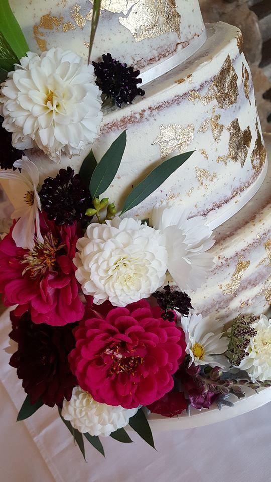 Semi-Naked & Rose Gold Wedding Cake