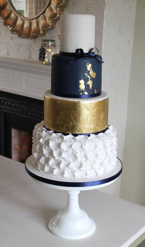 Navy Gold Wedding Cake