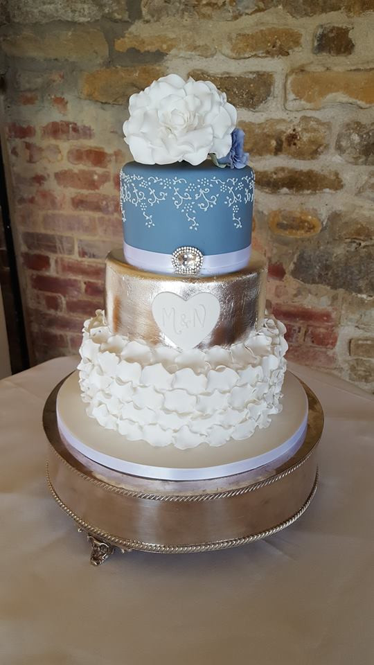 Silver & Blue Wedding Cake