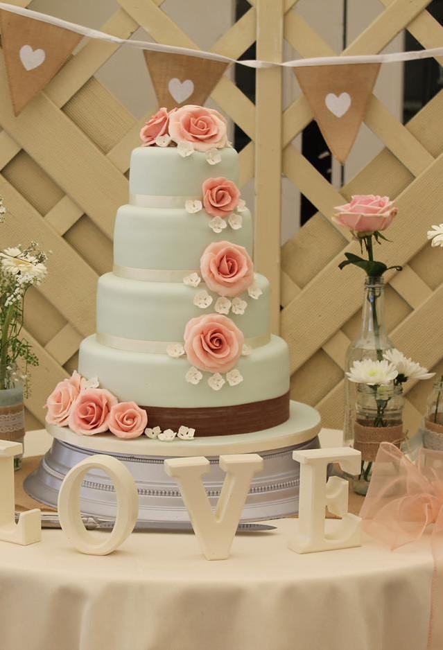 Peach & Mint green Wedding Cake