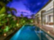 Villa Aramanis - Bamboo - Pool at night.
