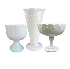 Milk Glass Compotes & Vases