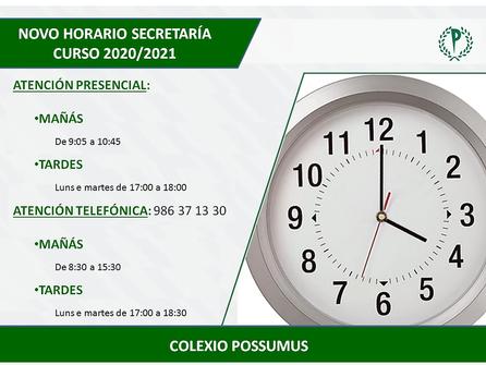 HORARIO SECRETARÍA CURSO 2020/2021