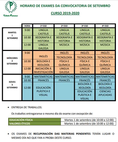 RECORDATORIO EXÁMENES DE SEPTIEMBRE