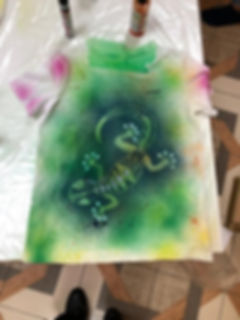 Роспись футболок Ящерица